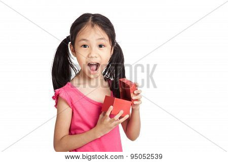 Happy Little Asian Girl  Surprise With Red Gift Box
