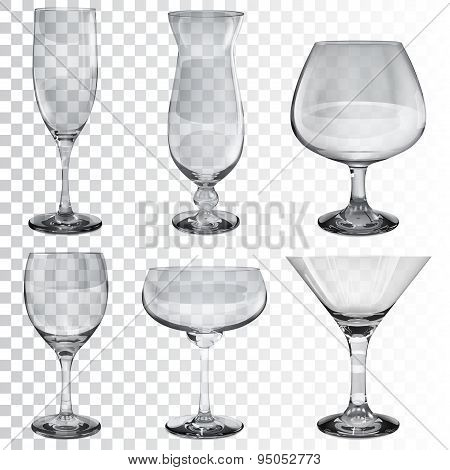 Set Of Empty Transparent Glass Goblets For Different Drinks