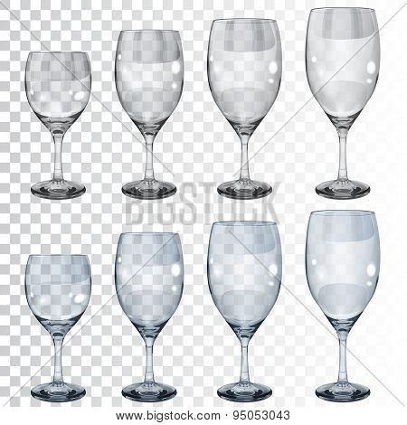 Set Of Empty Transparent Glass Goblets For Wine