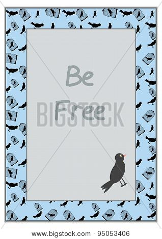 Bird and cage -  vector illustration on blue background