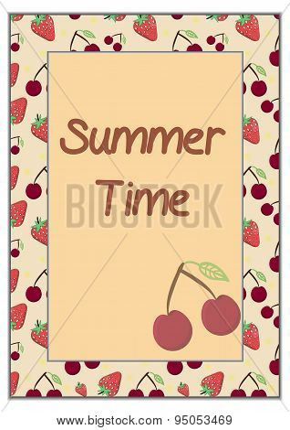 Strawberry and cherry - summer time card frame on yellow backgro