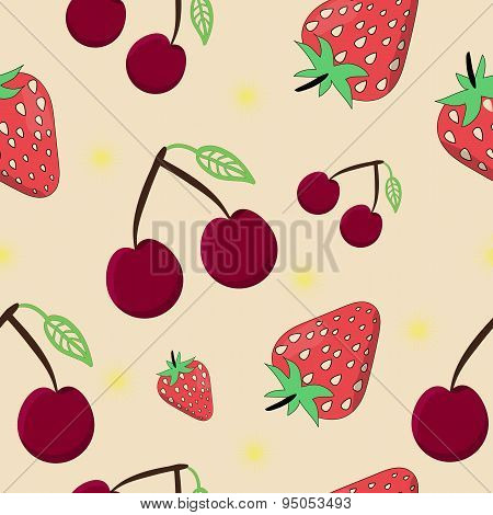 Seamless cherry strawberry vector illustration on yellow backgro