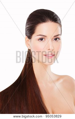 Attractive young brunette with long tail. Healthy hair woman