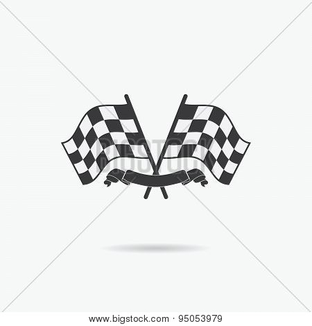 Flag Icon. Checkered Or Racing Flags And Finish Ribbon. Sport Auto, Speed And Success, Competition A