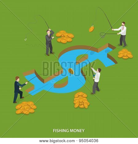 Fishing money flat isometric vector concept.