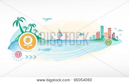 Web Camera On Travel Background.