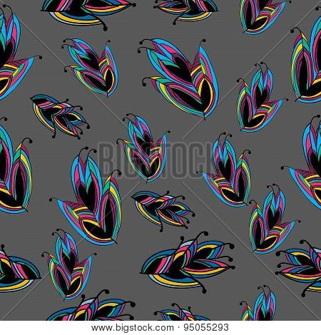 Seamless Feather Pattern Colorful From Wonderland On Grey Backgr