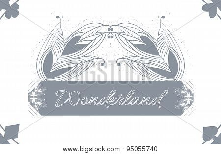 Alice's Advetures In Wonderland Grey Card Pattern