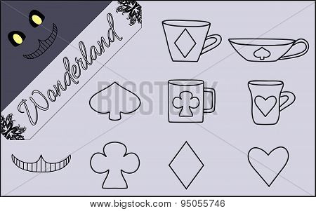 Set Of Flat Line Isolated Objects From Alice In Wonderland World