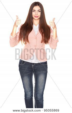 Lady in jeans and blazer, isolated on white