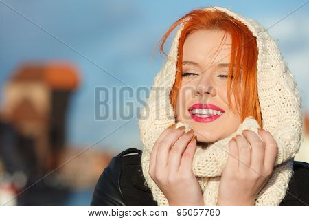 Beauty Red Hair Woman In Warm Clothing Outdoor