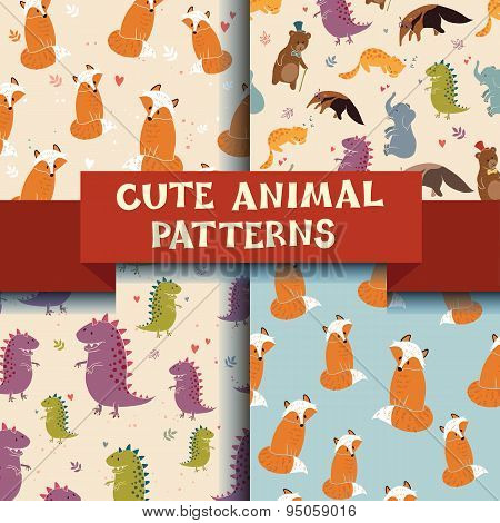 Set of 4 patterns with Cute Animals