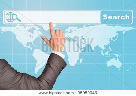 Businessmans arm on abstract blue background