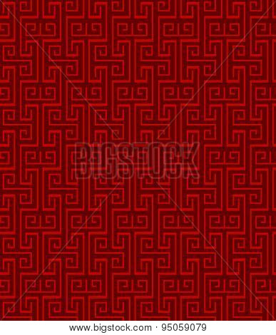 Seamless vintage Chinese traditional window tracery square spiral pattern background.