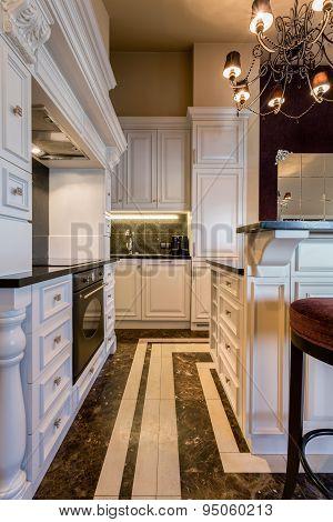 Baroque Kitchen In Huge Apartment