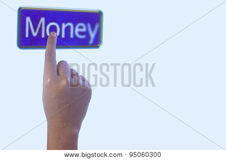 Person Pointing The Word Money