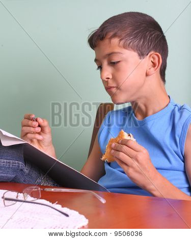 Boy, Book And Food