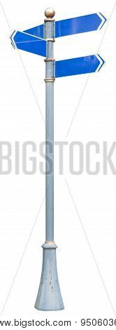 Signpost on isolated white background