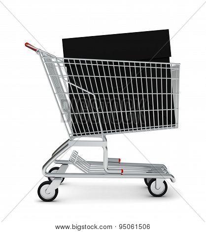 Black bag in shopping cart