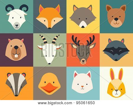 Set of cute animals icons