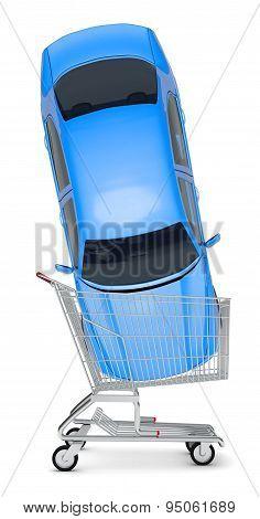 Blue car in shopping cart