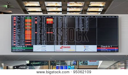 Arrival/departure Board In The Zurich Airport