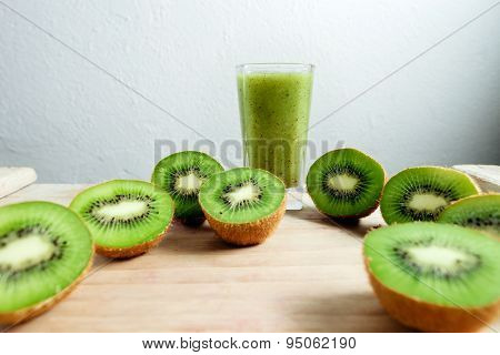 Kiwi Smoothie Tropical Fresh Blended On Wood Table