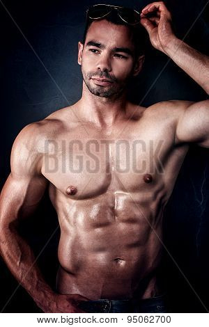 Handsome Muscular Man Posing.