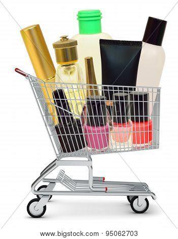 Cosmetics in shopping cart