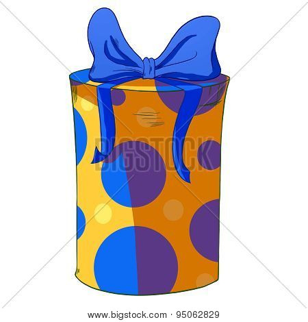 Yellow Cylinder Gift Box With Blue Bow.