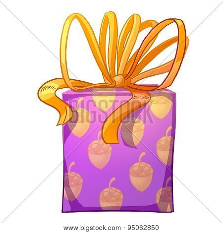 Purple Gift Box With Yellow Bow.