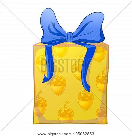 Yellow Gift Box With Blue Bow