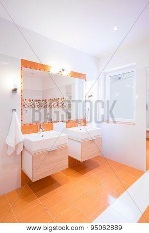 Bathroom In Orange Color