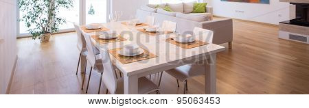 White Tableware On The Table
