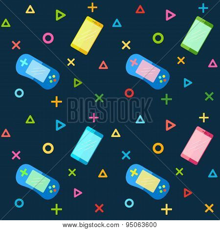 Mobile Phones And Colorful Game Pad Controllers.