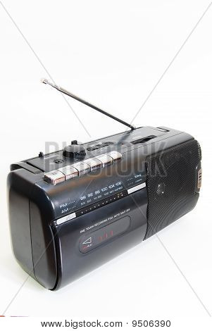 Black Classic Radio Isolated Over Seamless White Background