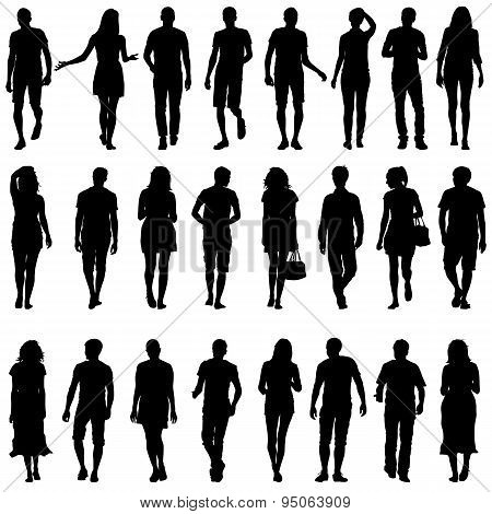 Black Silhouettes Of Beautiful Mans And Womans On White Backgrou