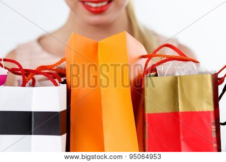 Blond Woman Inspecting Fresh Buyings