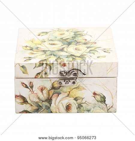 Floral Pattern Box Decorated With Decoupage Paper Handmade