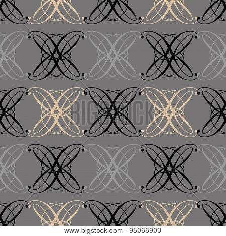 Seamless Antique Pattern Ornament Geometric Art Deco Stylish Background. Repeating In Gray