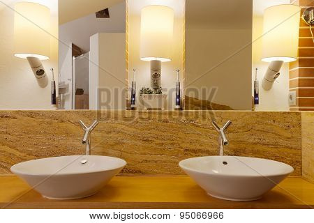 Two Washbowls In Modern Bathroom