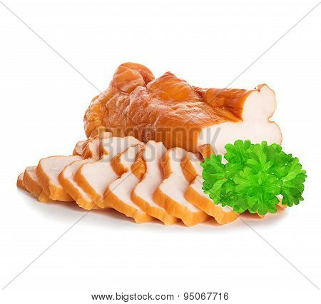 boiled pork close-up isolated on a white background