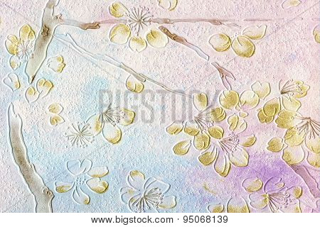 Excellent Flowers On Grunge Paper