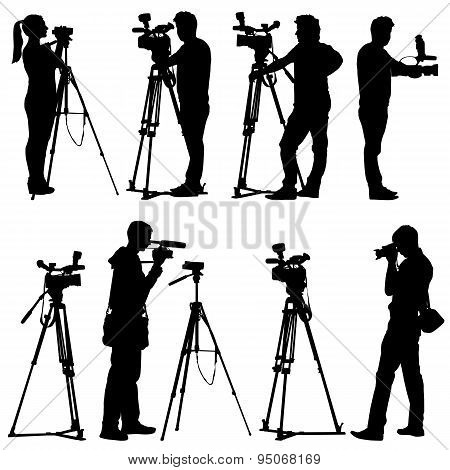 Cameraman With Video Camera. Silhouettes On White Background. Ve