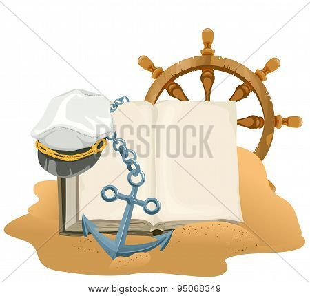 Sea Adventure. Open book, anchor, captain cap and wheel lying on sand