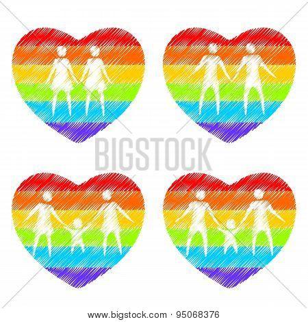 family rainbow hearts
