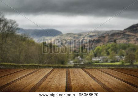 Lake District Landscape With Stormy Sky Over Countryside Anf Fields