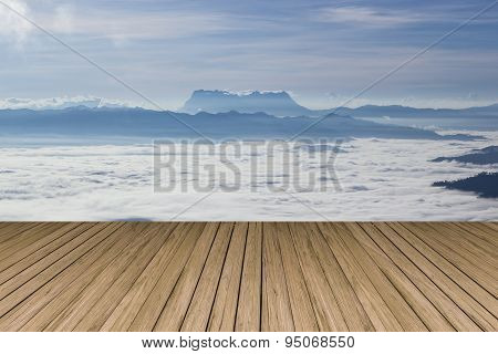 Wood Terrace With View Of Huai Nam Dang National Park.