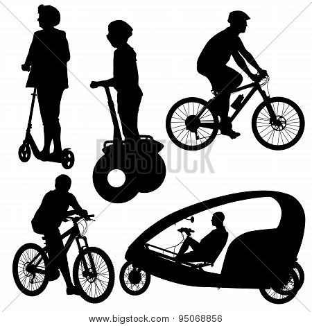 Set Silhouette Of A Cyclist.  Vector Illustration.