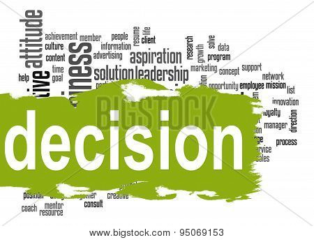 Decision Word Cloud With Green Banner